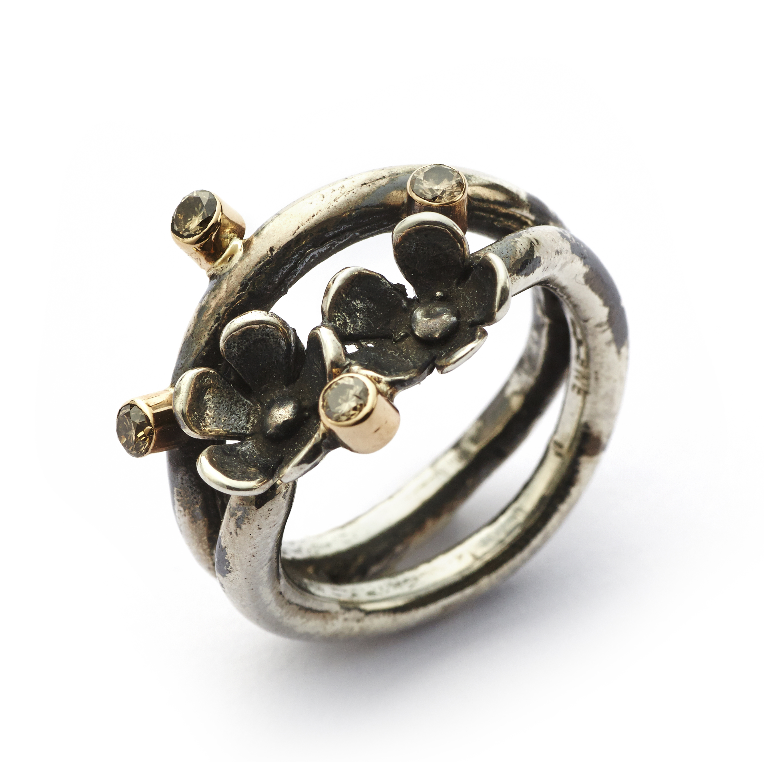 Image of   By Birdie Ring Comet Twin Flower Wire - 50110800 Størrelse 54