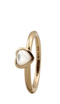 CHRISTINA Forgyldt Sølvring Heart - 1.3B Størrelse 55