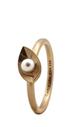 Christina forgyldt sølvring pearl leaf - 2.1b størrelse 59 fra christina watches på brodersen + kobborg