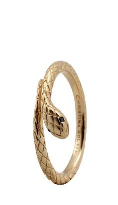 Christina forgyldt sølvring diamond snake - 2.4b størrelse 49 fra christina watches fra brodersen + kobborg