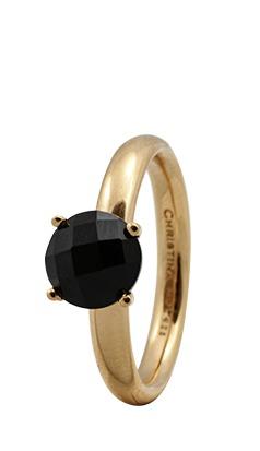 christina watches Christina forgyldt sølvring black onyx - 3.1b størrelse 57 fra brodersen + kobborg