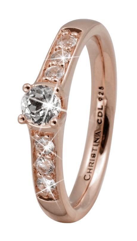 christina watches – Christina rose sølvring topaz princess - 3.8c størrelse 49 på brodersen + kobborg