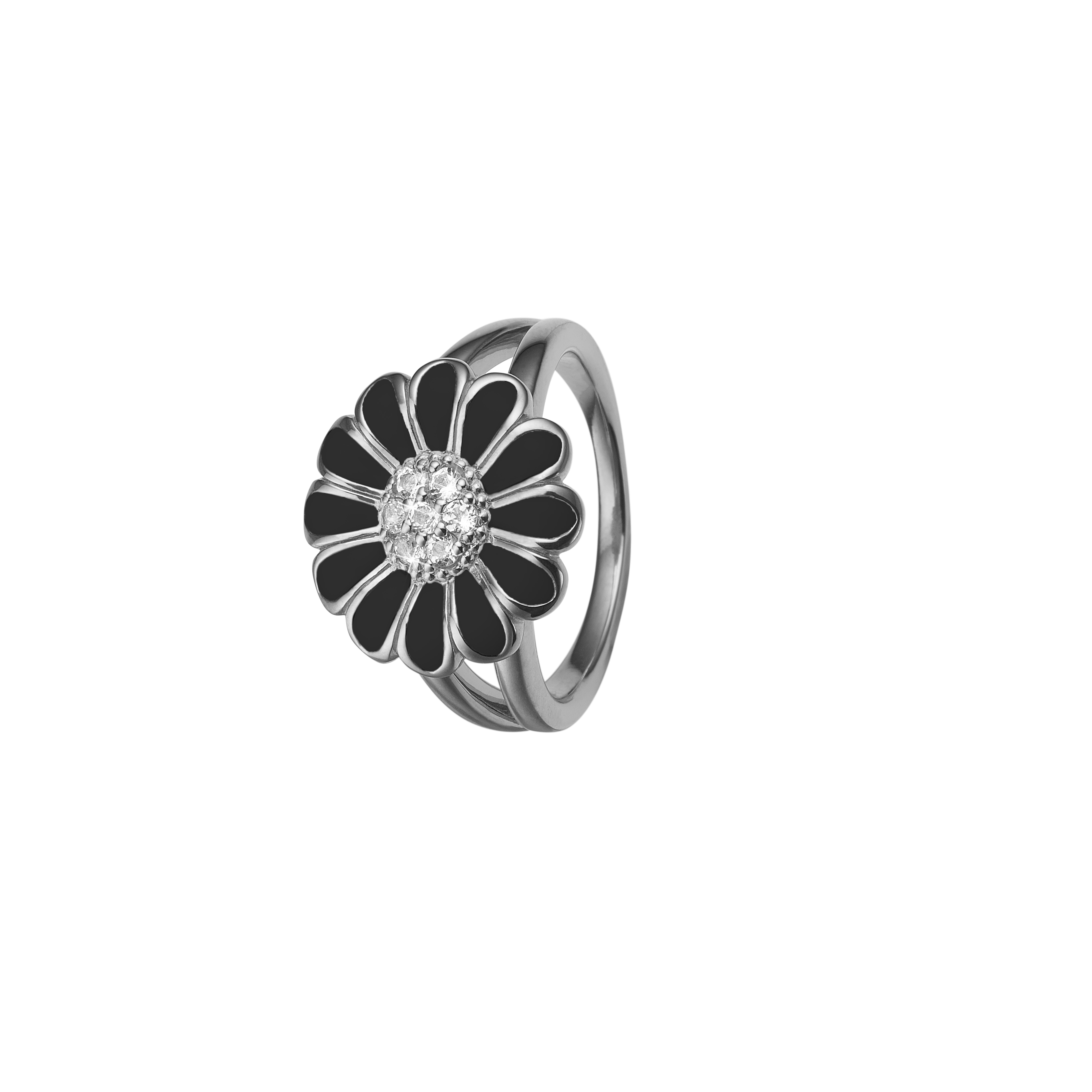 Image of   CHRISTINA Black Marguerit ring 16 mm - 4.5A Størrelse 51