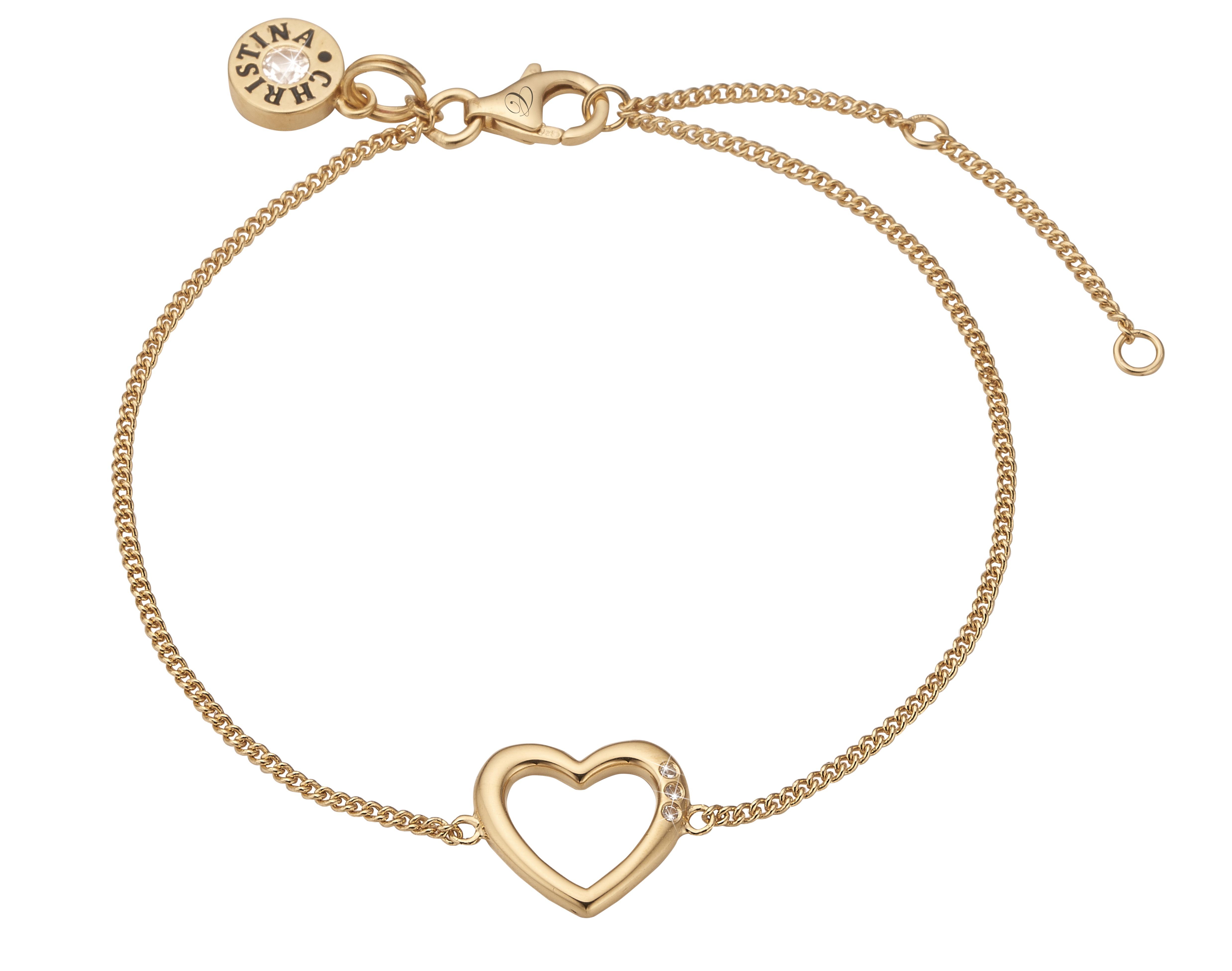 Image of Christina open heart forgyldt armbånd - 601-G10 20 centimeter