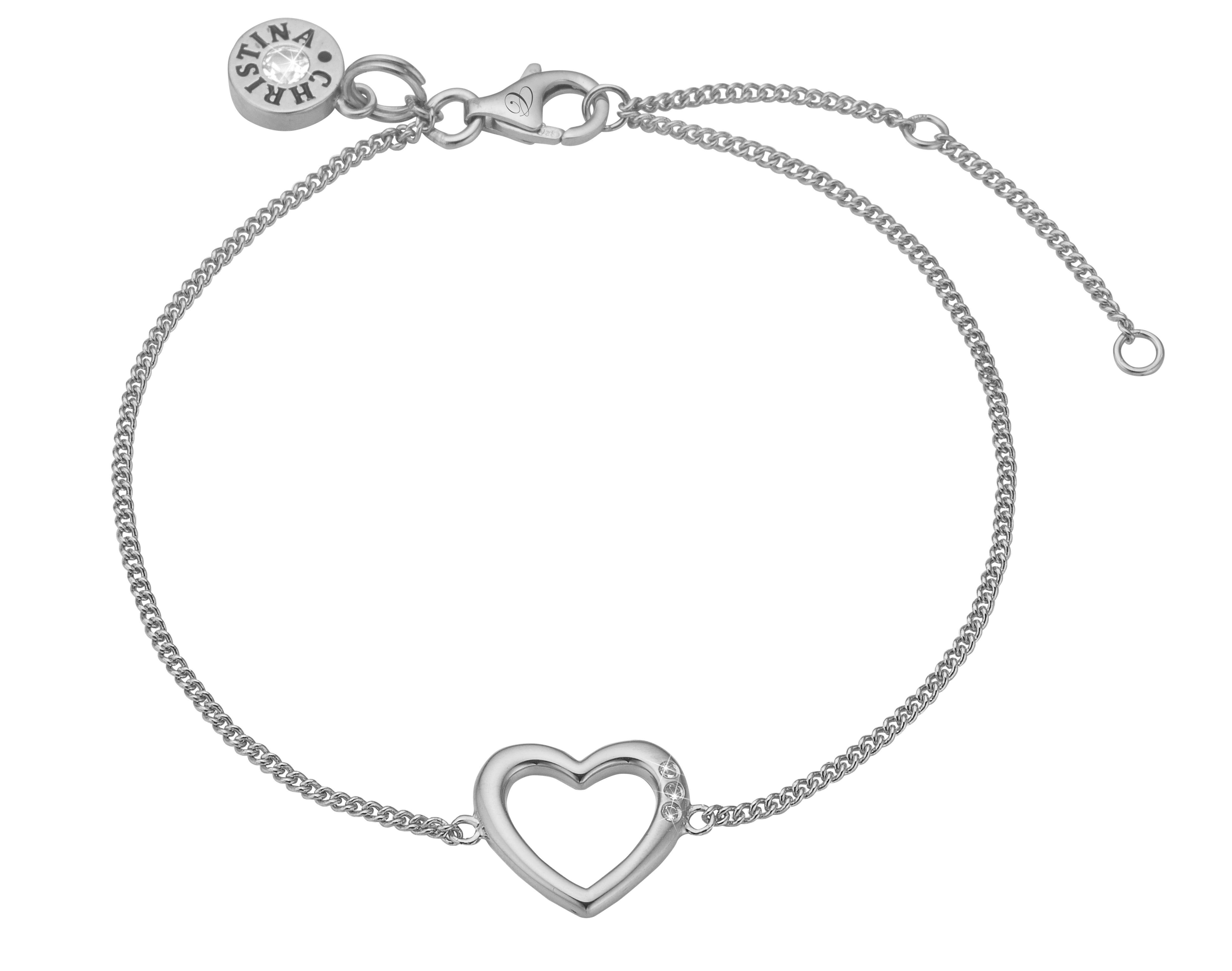 Image of Christina open heart sølvarmbånd - 601-S10 20 centimeter