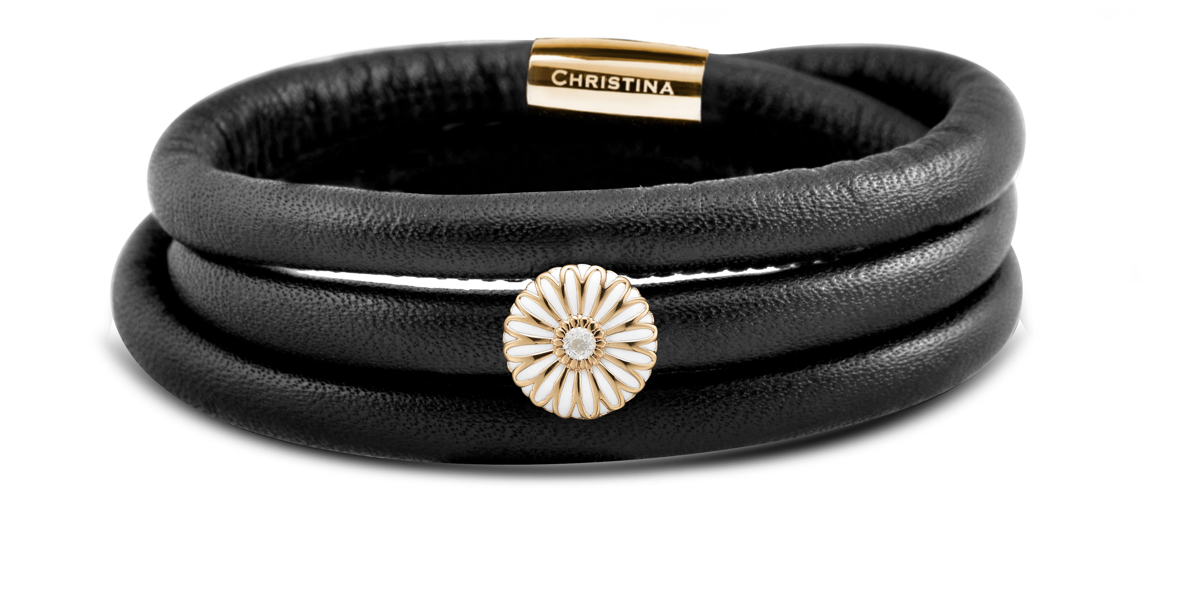 Image of   Christina Gerbera Læder armbånd - 605-JEWELTIME-G