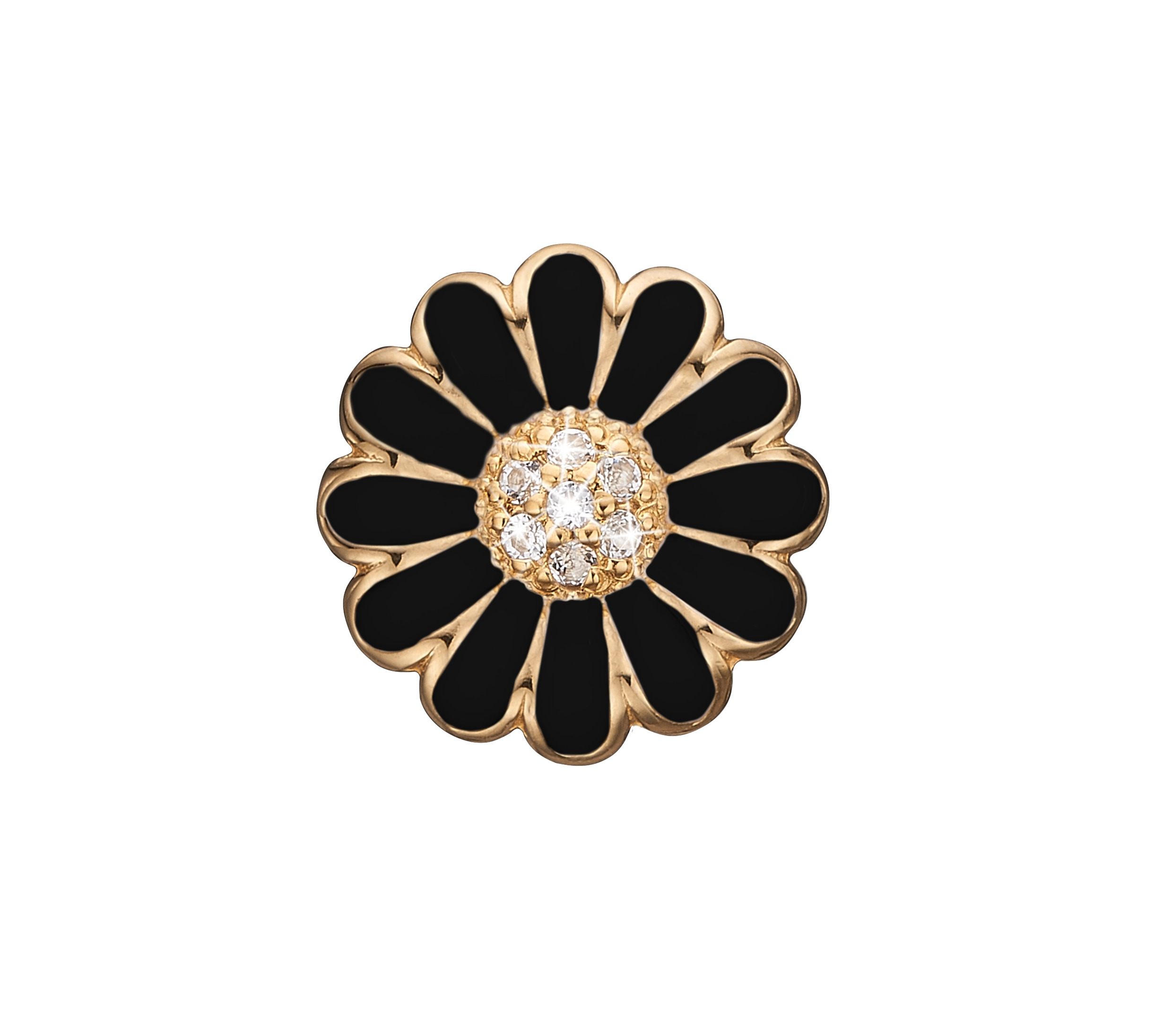 Image of   CHRISTINA Black topaz marguerite - 650-G38BLACK