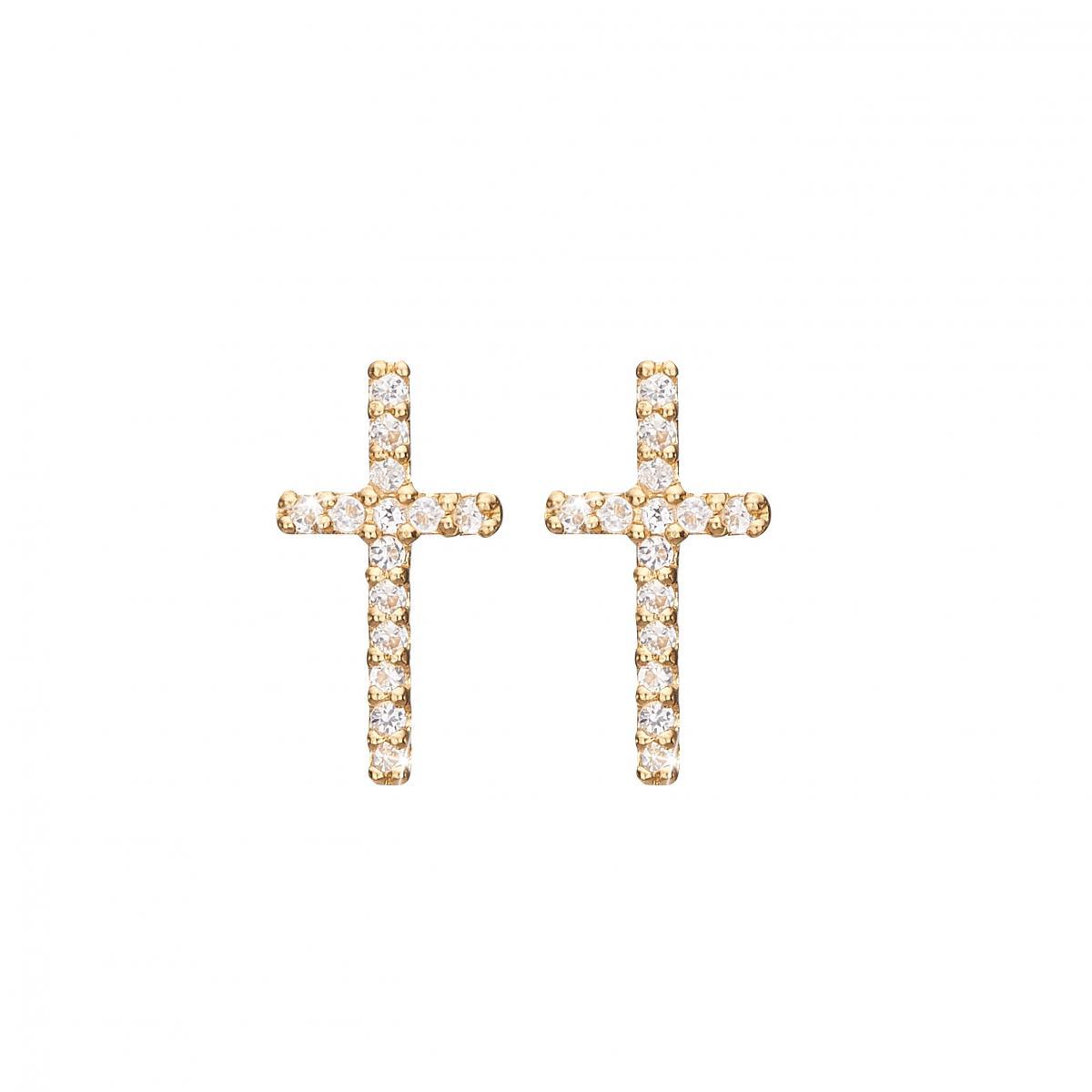 Image of   CHRISTINA Sparkling cross ørestikker - 671-G35
