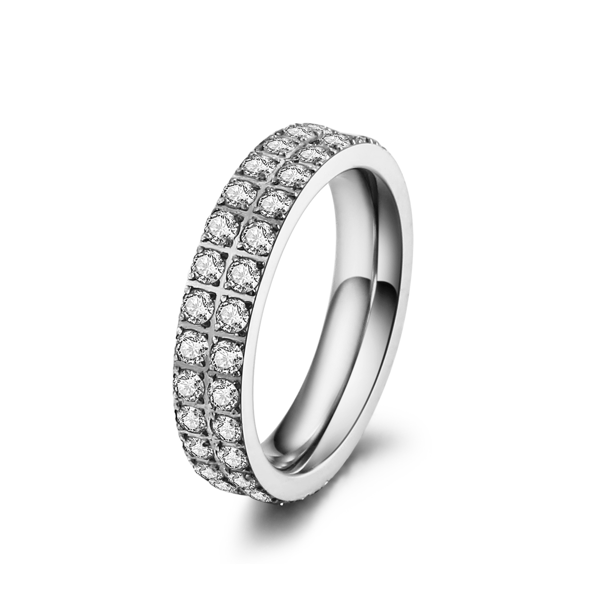 ice diamonds by kranz – Stål ring med zirkonia - 1401123 størrelse 60 fra brodersen + kobborg