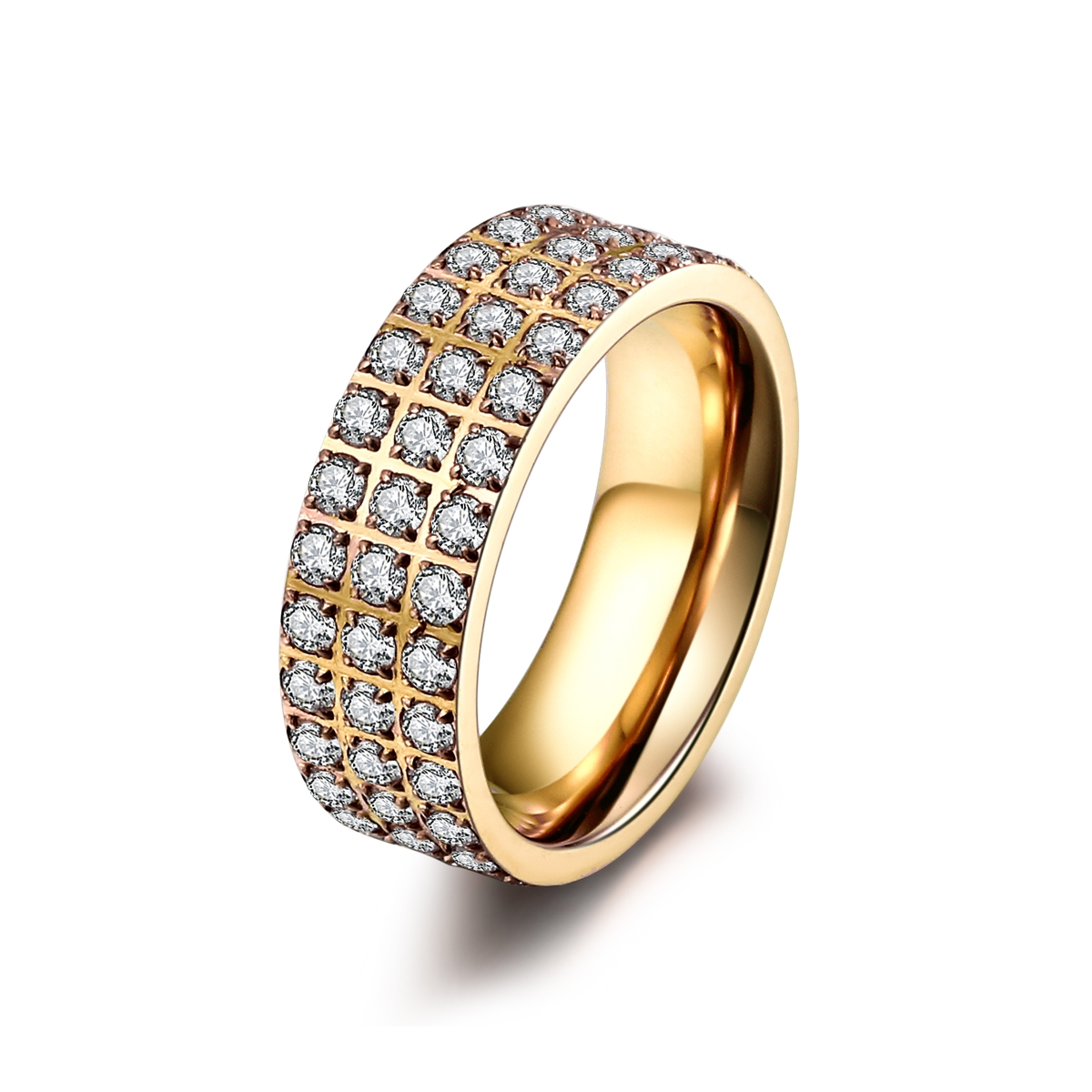 ice diamonds by kranz – Forgyldt stål ring med zirkonia - 1402133 størrelse 52 på brodersen + kobborg