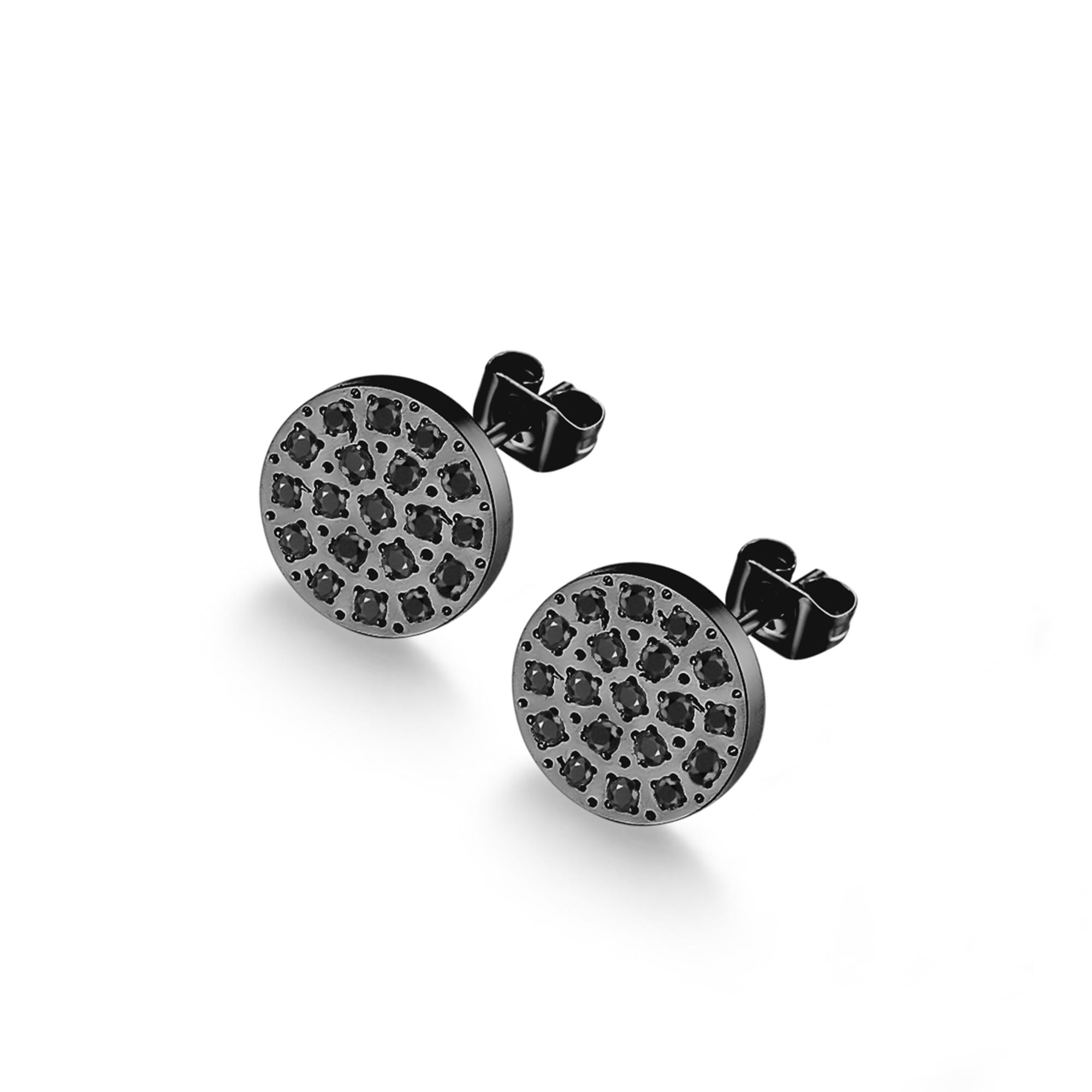 ice diamonds by kranz – Sort stål ørestikker med zirkonia - 1404302 fra brodersen + kobborg