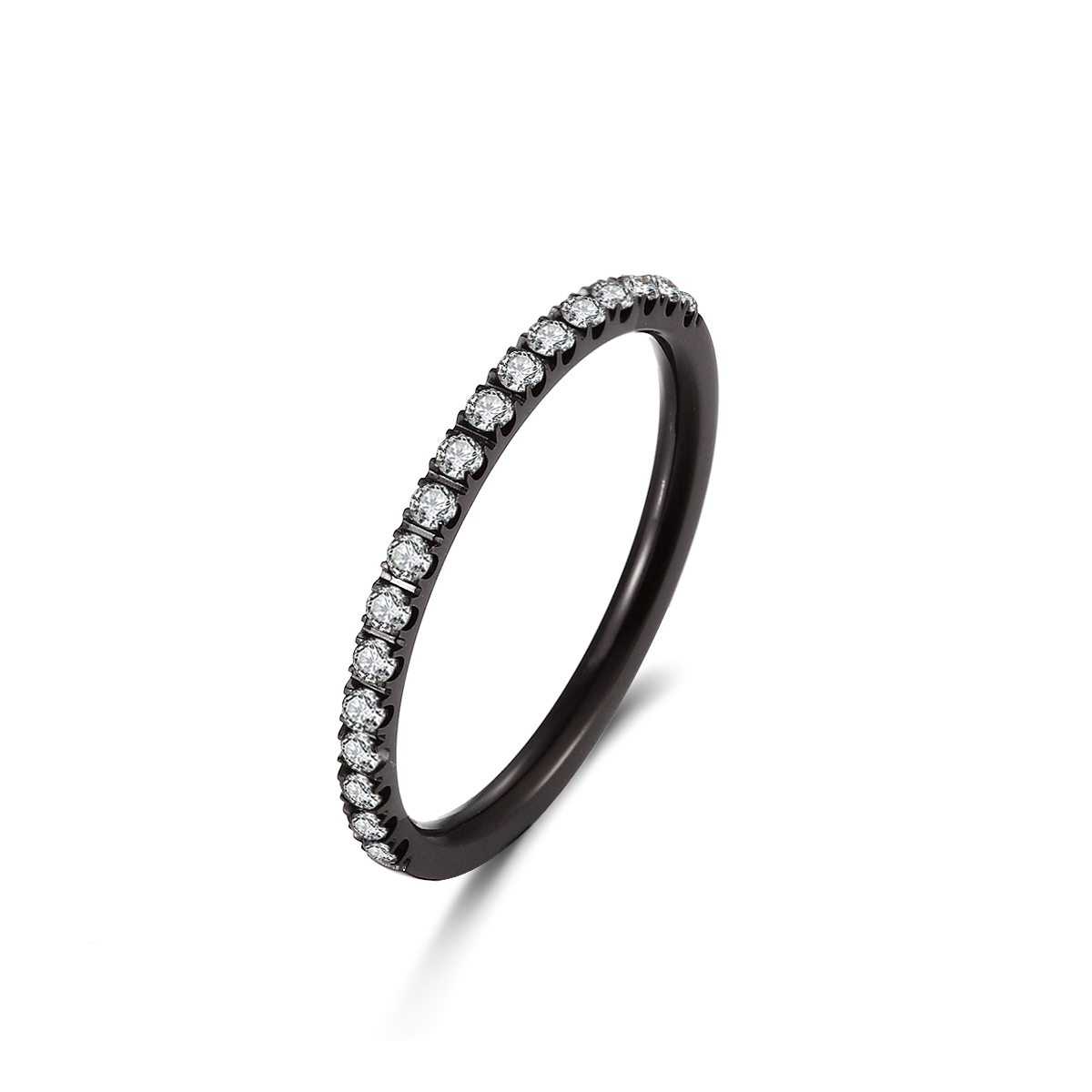 Sort stål ring med zirkonia - 1405013 størrelse 50 fra ice diamonds by kranz fra brodersen + kobborg