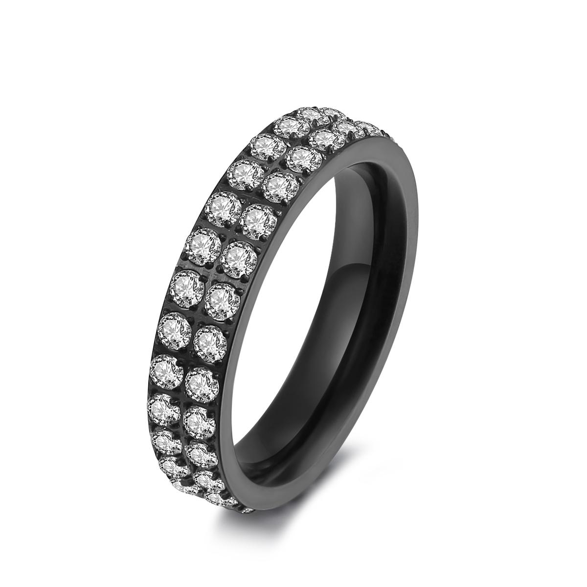 Sort stål ring med zirkonia - 1405123 størrelse 58 fra ice diamonds by kranz fra brodersen + kobborg