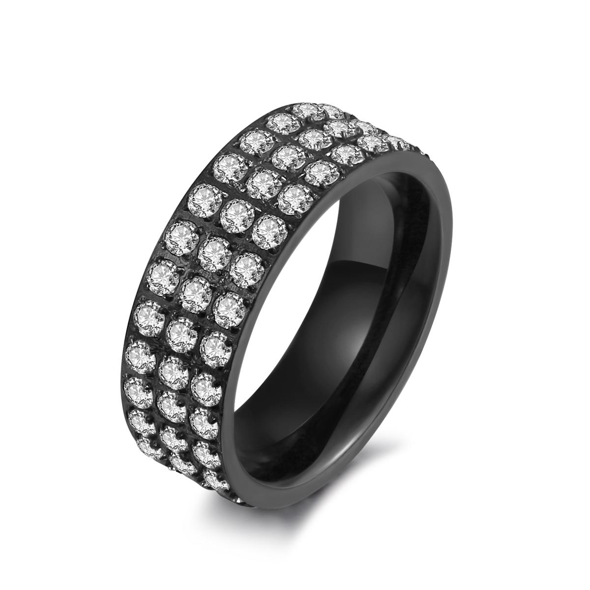 Sort stål ring med zirkonia - 1405133 størrelse 60 fra ice diamonds by kranz på brodersen + kobborg