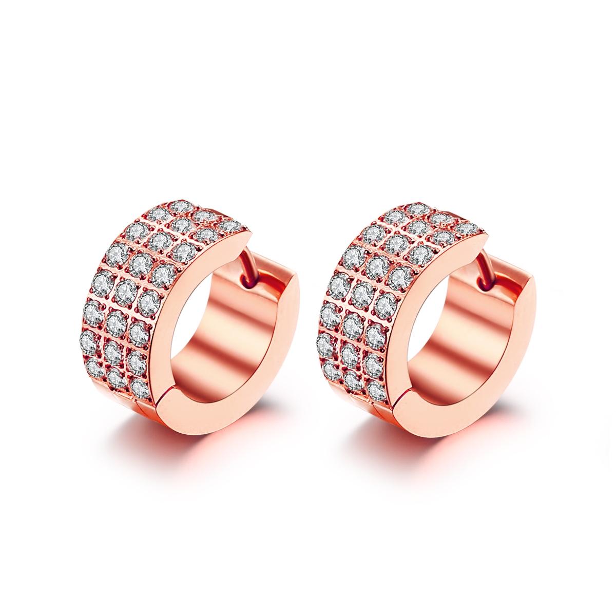 Rosaforgyldt stål creol med zirkonia - 1503332 fra ice diamonds by kranz på brodersen + kobborg