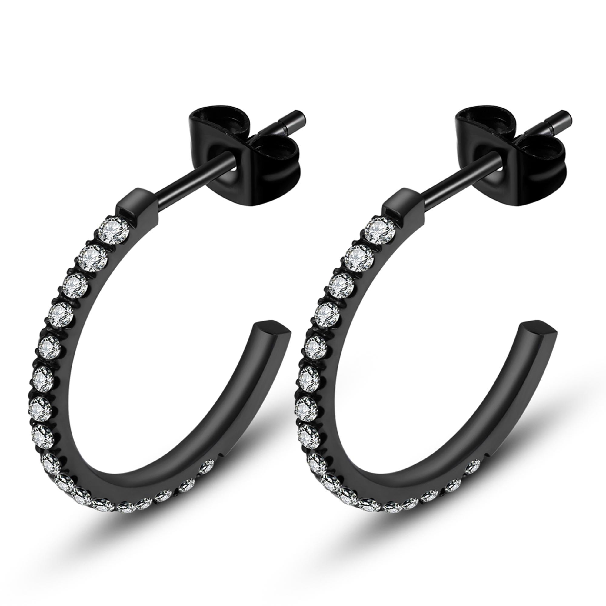 ice diamonds by kranz – Sort stål ørering med zirkonia - 1505512 fra brodersen + kobborg