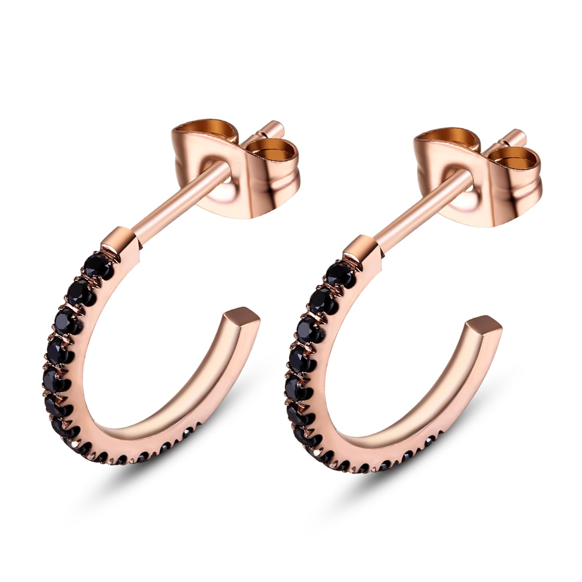 ice diamonds by kranz – Rosaforgyldt stål ørering med sort zirkonia - 1506502 på brodersen + kobborg
