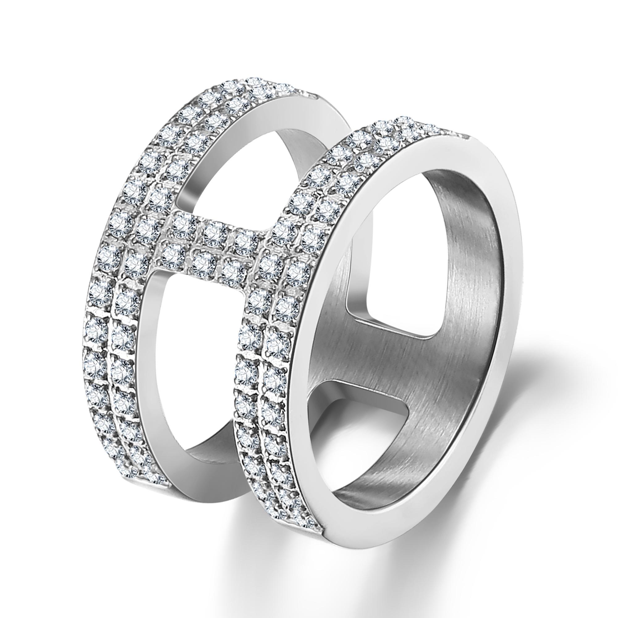 ice diamonds by kranz – Stål ring med zirkonia - 1601223 størrelse 58 på brodersen + kobborg