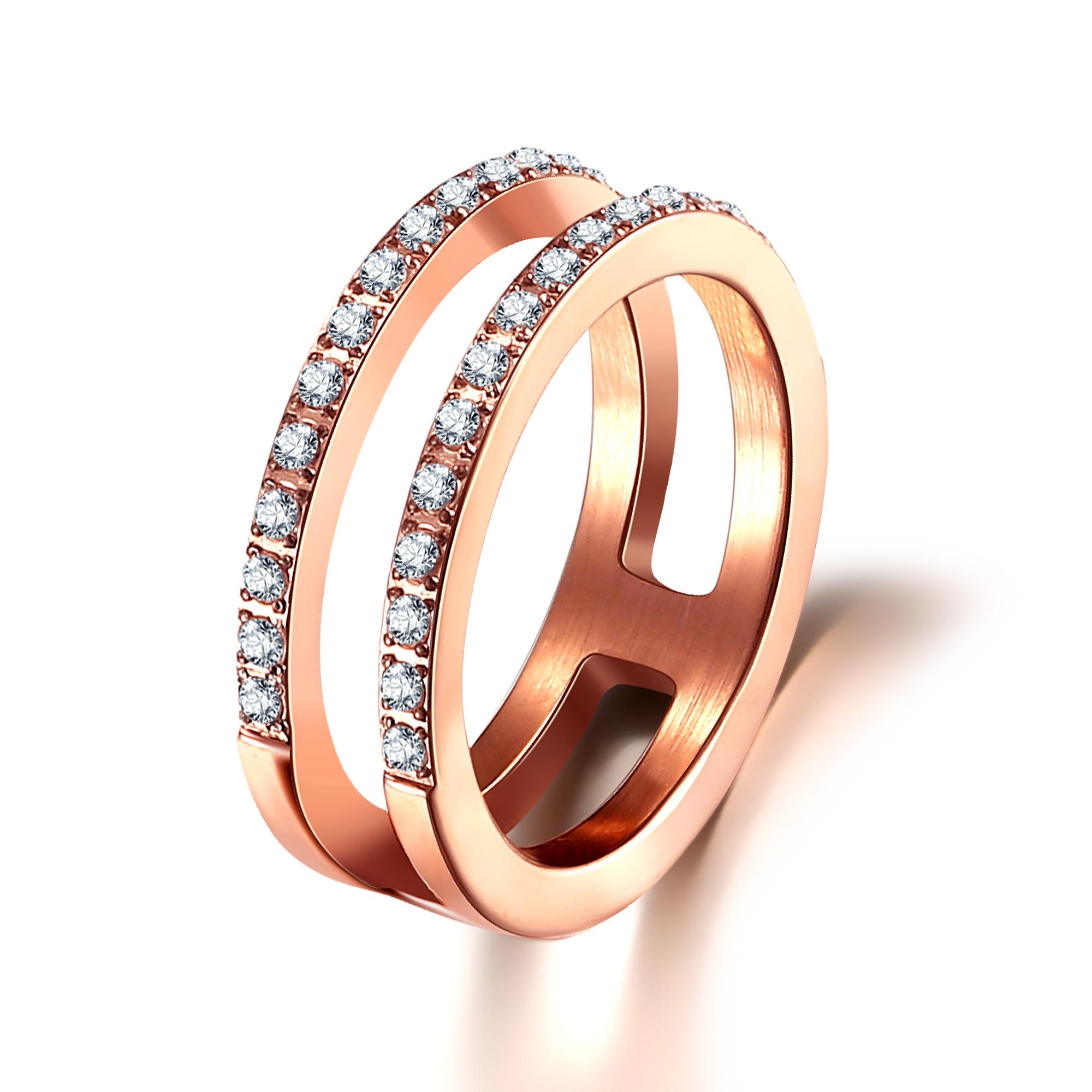 Rosaforgyldt stål ring med zirkonia - 1603023 størrelse 54 fra ice diamonds by kranz fra brodersen + kobborg