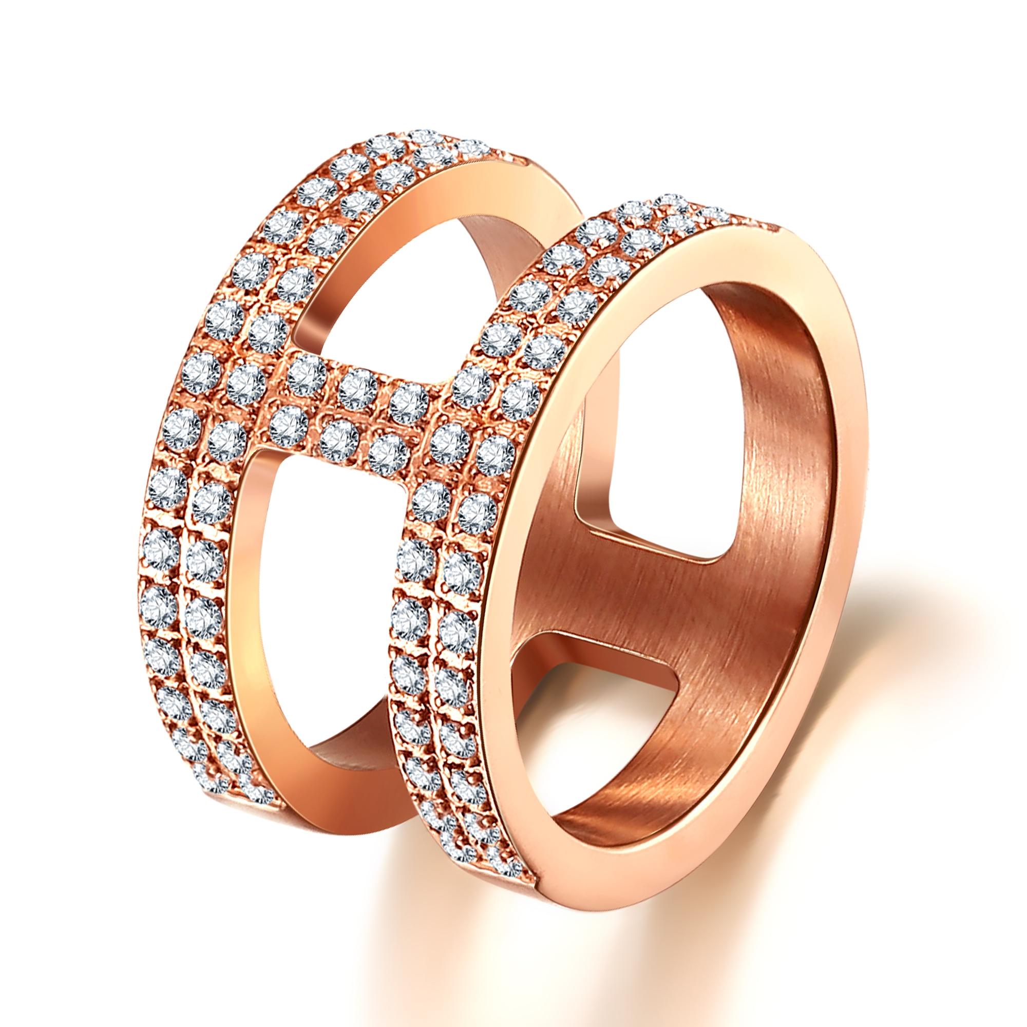 ice diamonds by kranz Rosaforgyldt stål ring med zirkonia - 1603223 størrelse 56 fra brodersen + kobborg