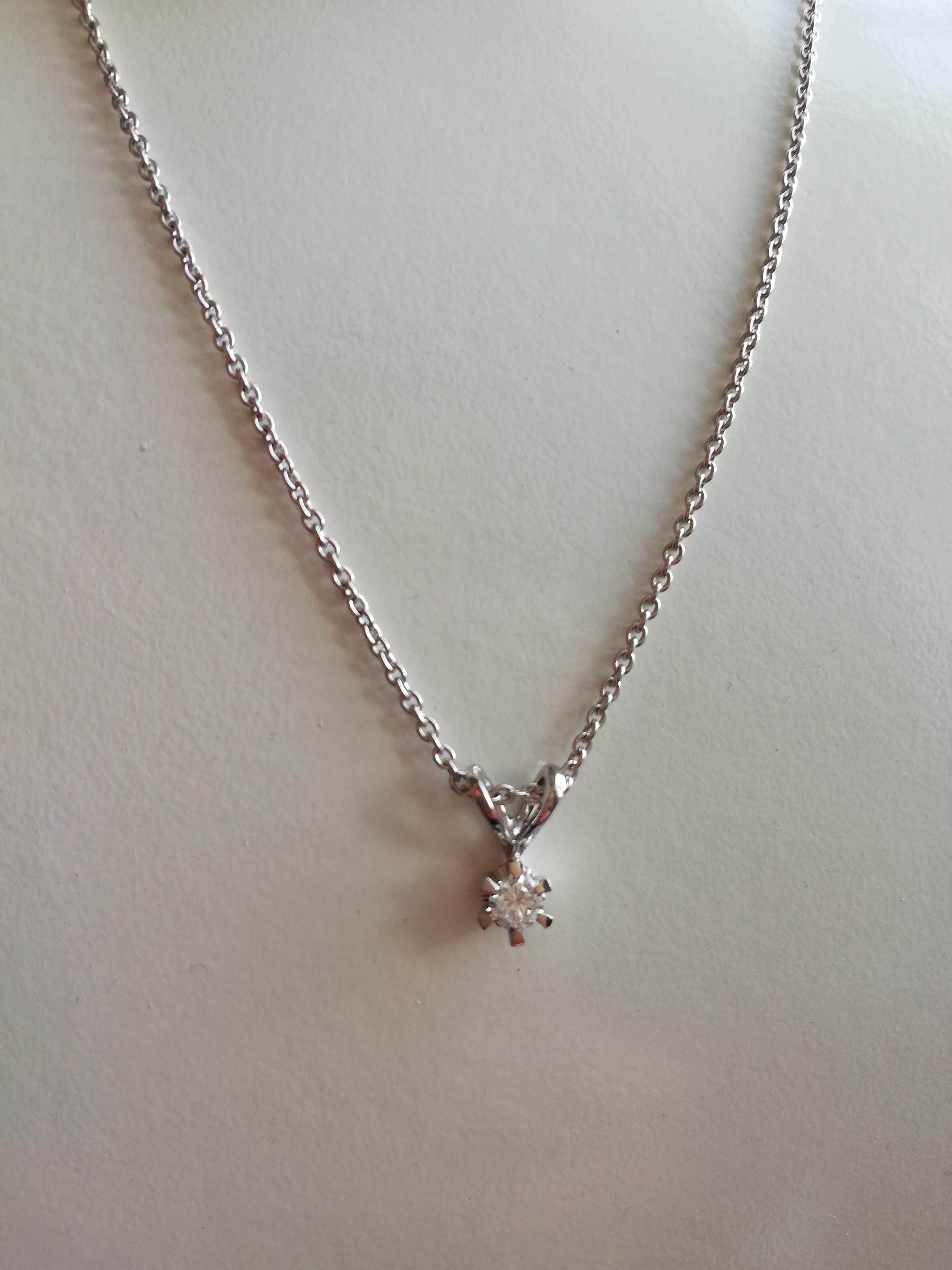 Image of   50 cm. kæde i hvidguld med vedhæng