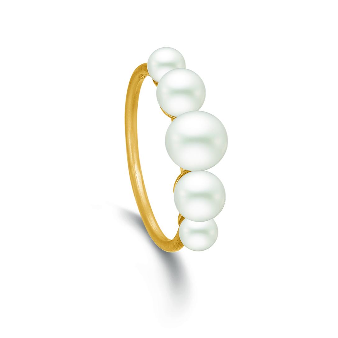 Image of   Kranz & Ziegler Forgyldt sølv ring med perler - 5305655 Størrelse 54