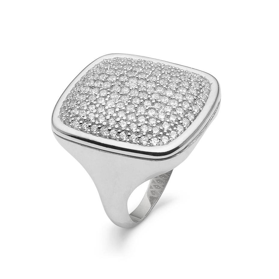 Image of   Kranz & Ziegler Rhodineret sølv ring med zirkonia - 6205844 Størrelse 54