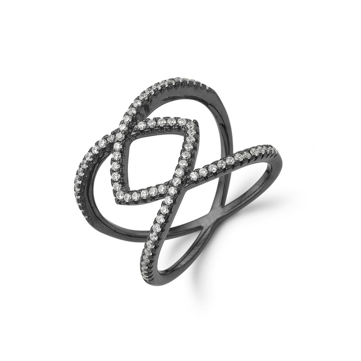 Image of   Kranz & Ziegler Sort sølv ring - 6205862 Størrelse 56