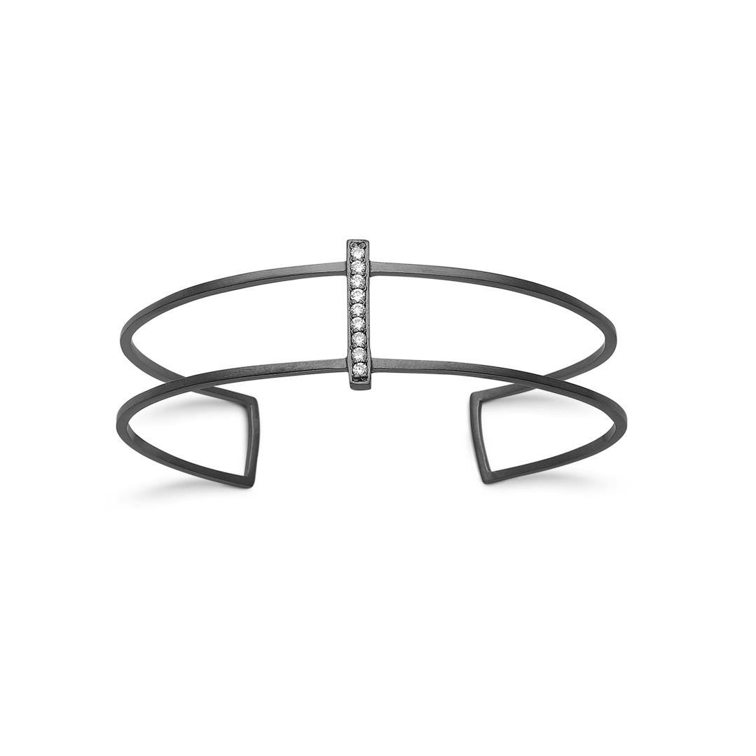 Image of   Kranz & Ziegler Sort sølv armring - 6210726