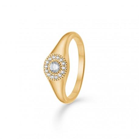 Billede af 8 kt ring med zirkonia Rosette - 3347112 Størrelse 56