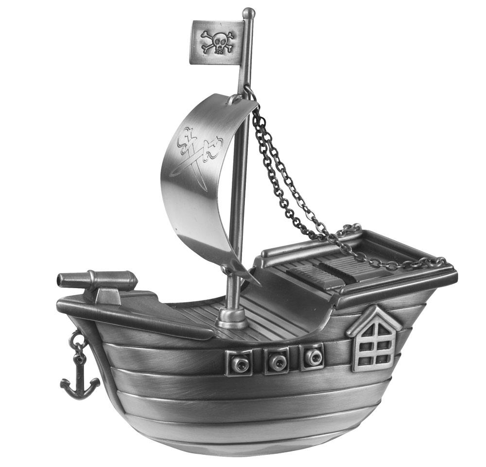 Billede af Fortinnet sparebøsse sørøverskib - 152-76259