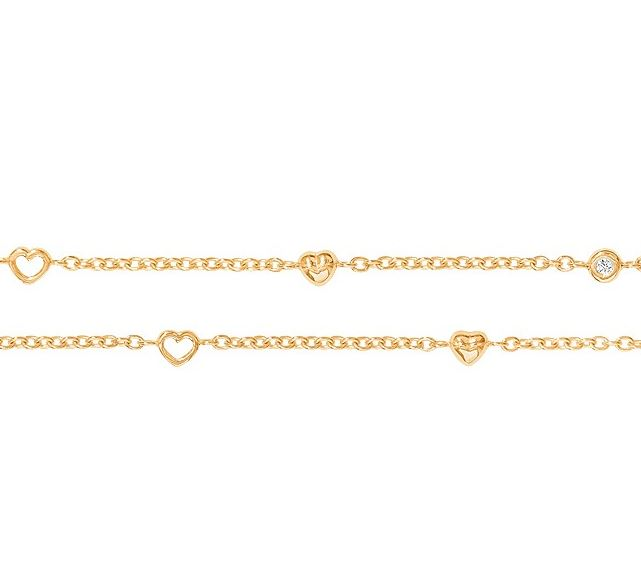 Ole lynggaard armbånd 18 kt rødguld med hjerter - a1950-401 fra ole lynggaard fra brodersen + kobborg