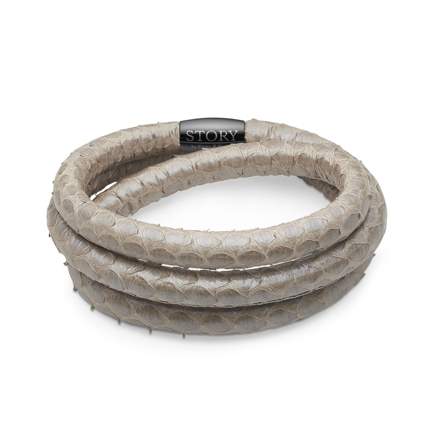 STORY Læderarmbånd grå perlemor slange - 1004871-3 57 centimeter
