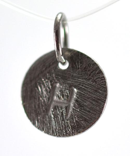 Image of   Oxideret sølv vedhæng med bogstav - 1511-3-H