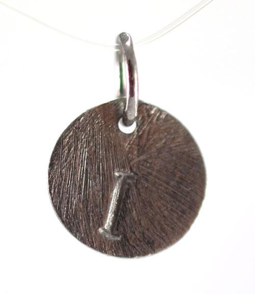Oxideret sølv vedhæng med bogstav - 1511-3-I
