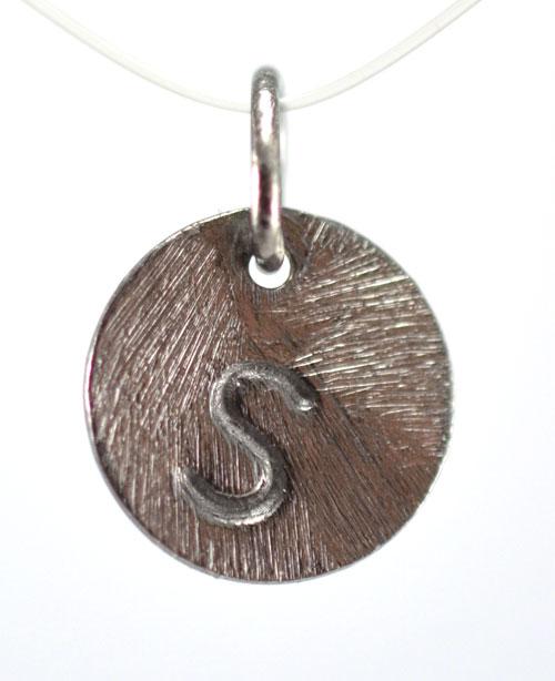 Image of   Oxideret sølv vedhæng med bogstav - 1511-3-S