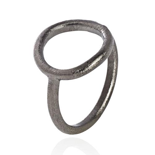 Image of   Oxideret sølv ring med cirkel - 1663-3 Størrelse 49