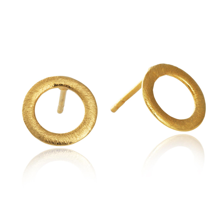 Image of   10 mm cirkel forgyldt sølv ørestikker - 5300-2