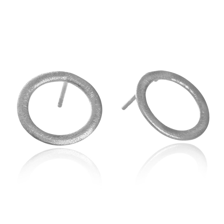 Image of   12 mm cirkel ørestikker i sølv - 5301-1