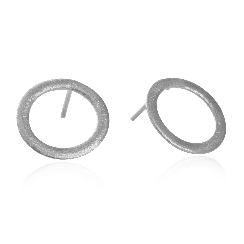 Image of   15 mm cirkel ørestikker i sølv - 5302-1