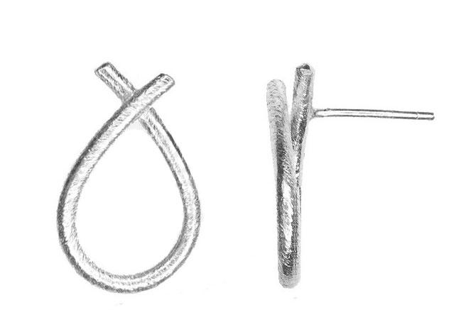 Image of   Sølv ørestikker tvistet dråbe - 5360-1